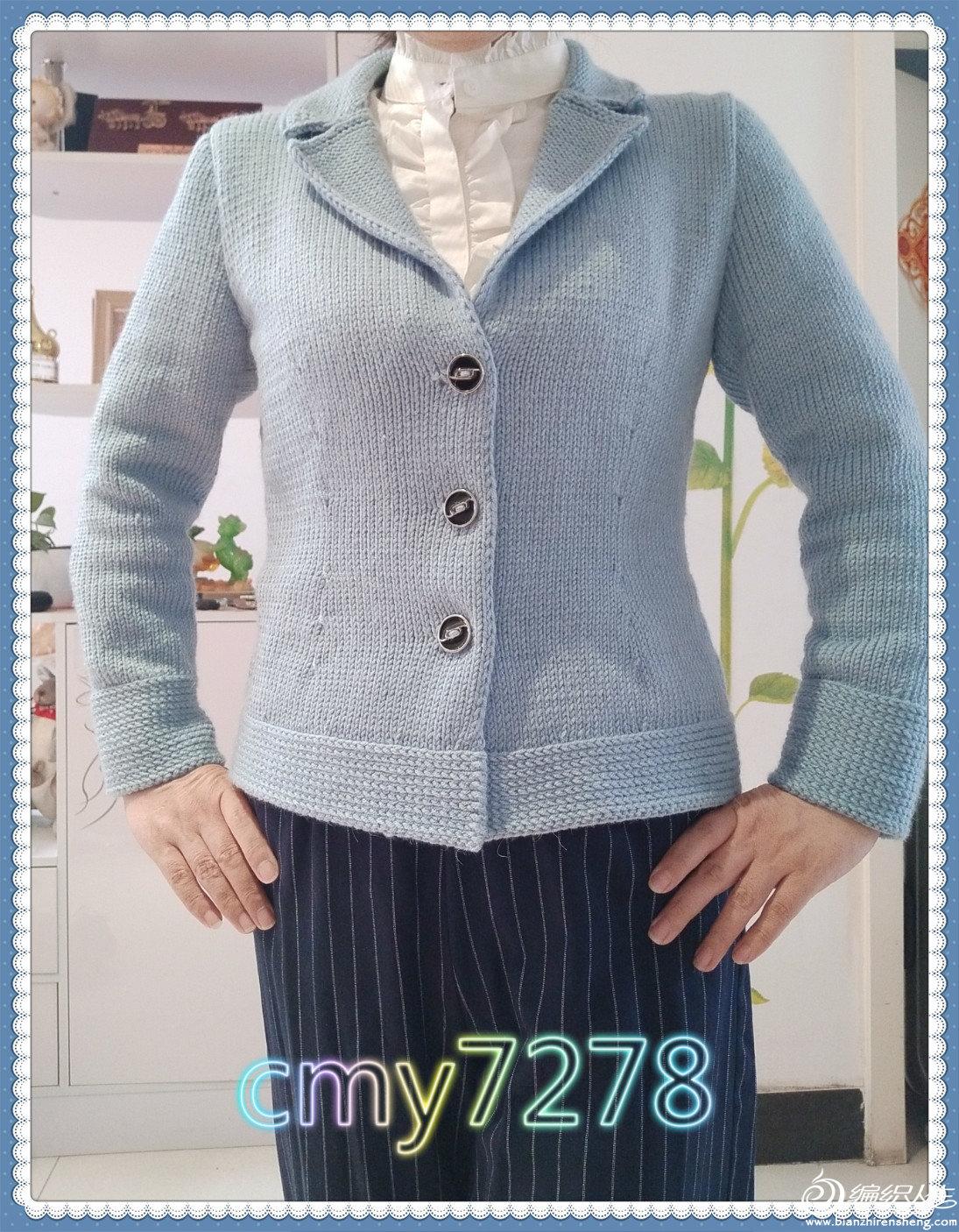 女士棒针翻领毛衣