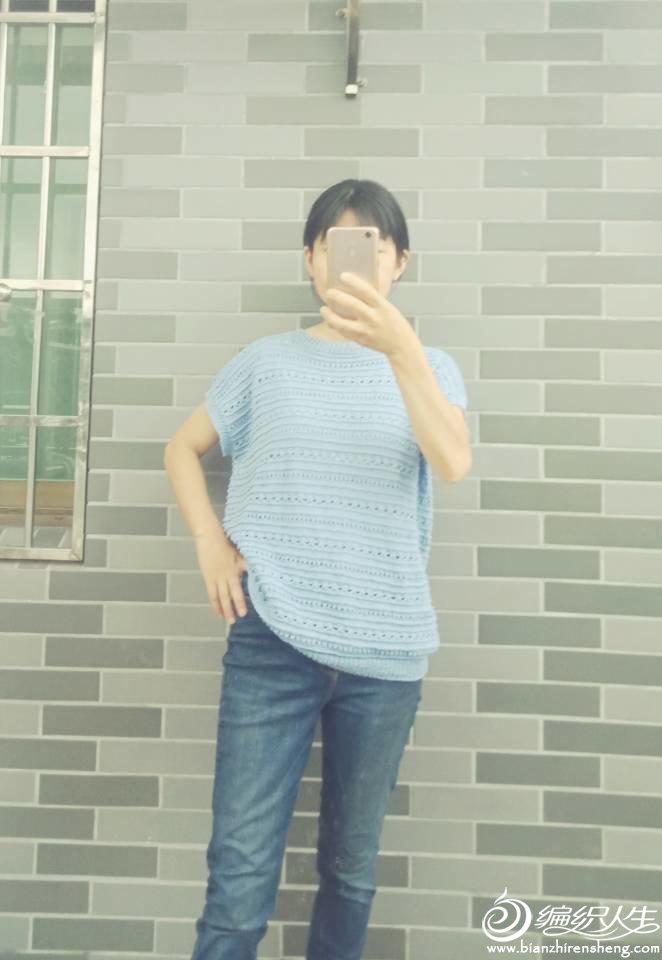 棒针蕾丝镂空花短袖衫