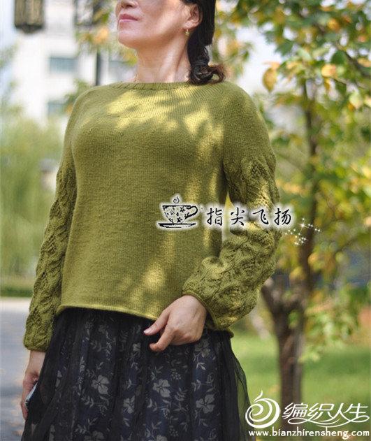 女士棒针镂空花袖子套头毛衣