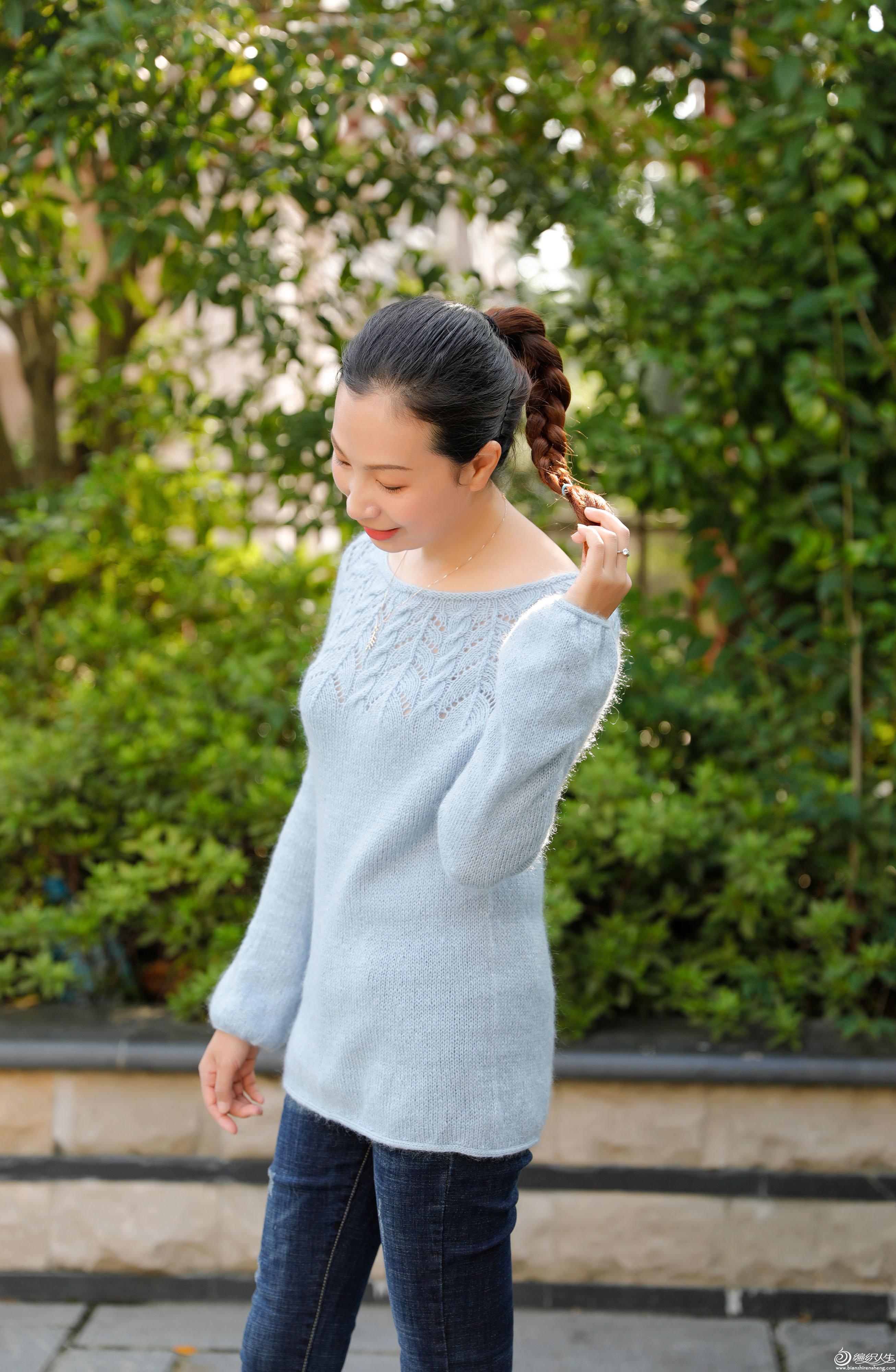 女士棒针叶子花套头毛衣