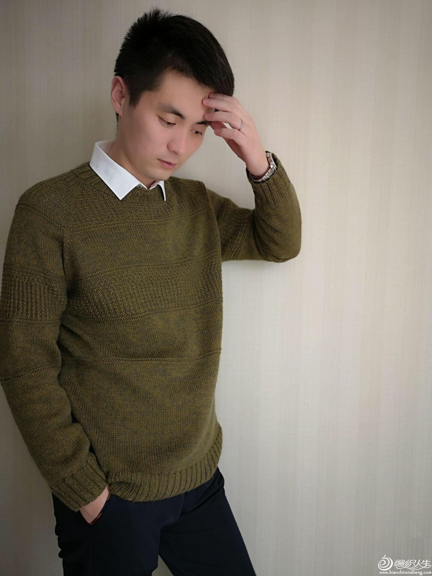 从上往下织男士毛衣