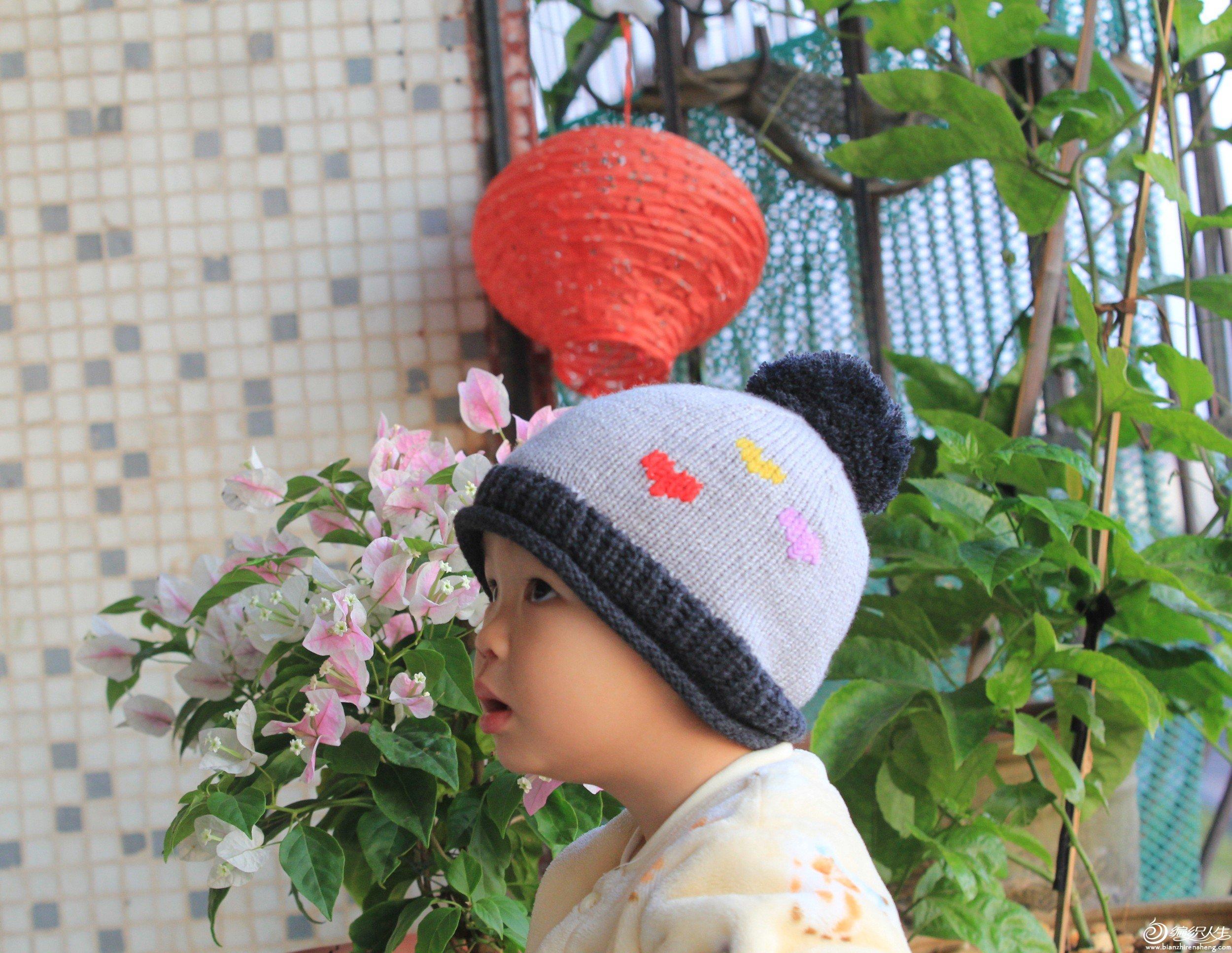 棒针绒球毛线帽