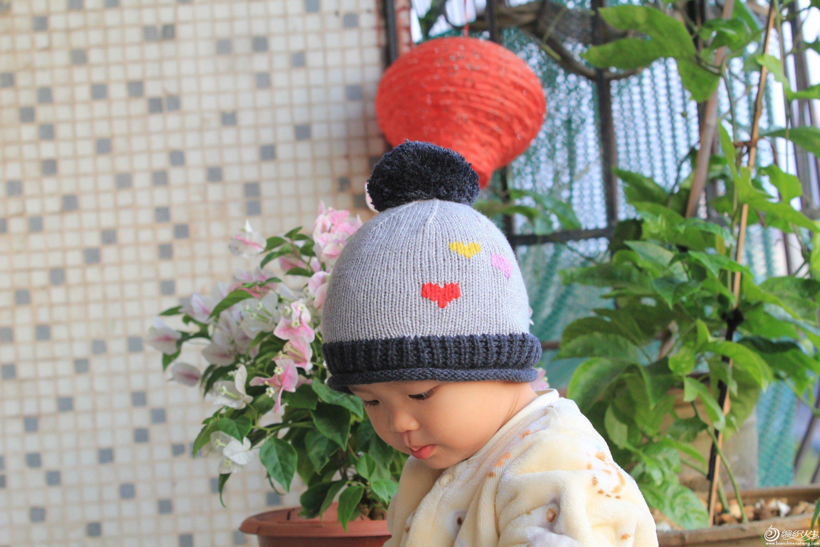 儿童棒针爱心图案帽子