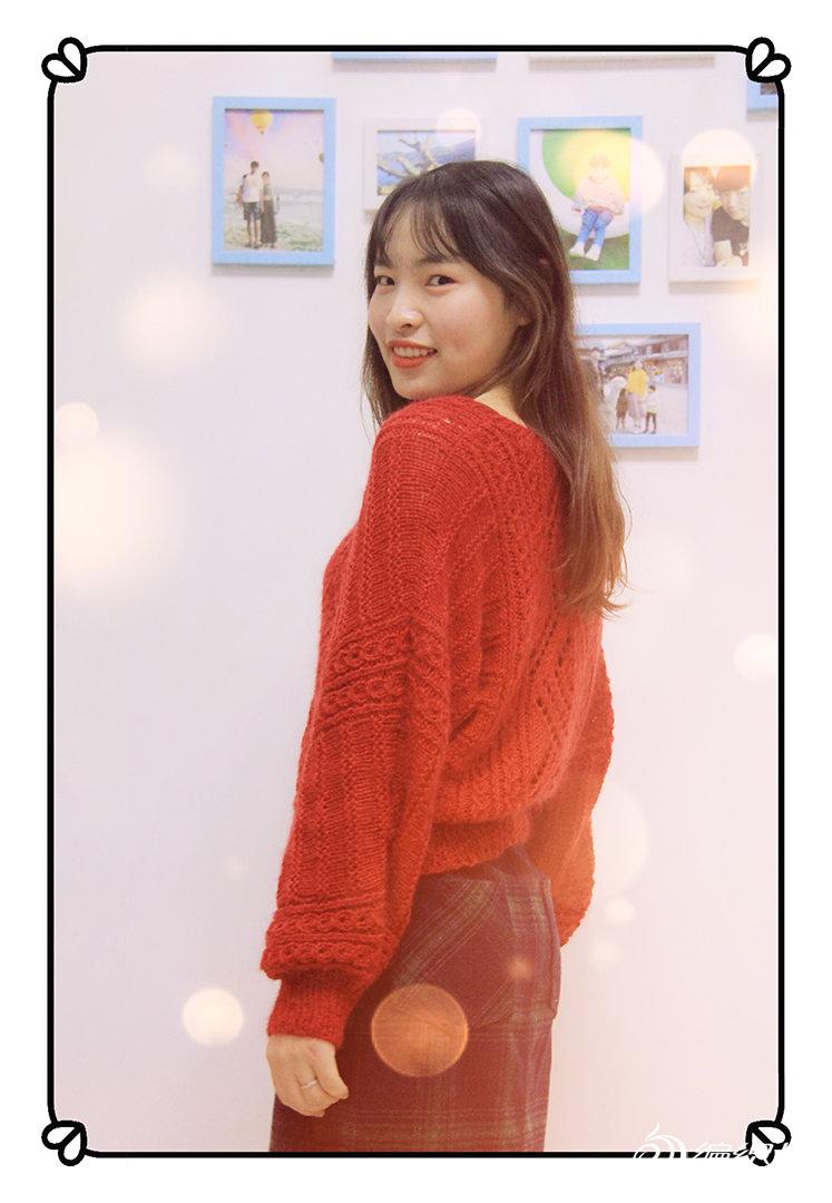 棒针镂空花红毛衣