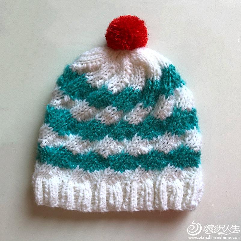 棒针彩色毛线帽