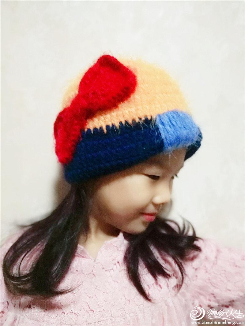 钩针蝴蝶结帽子