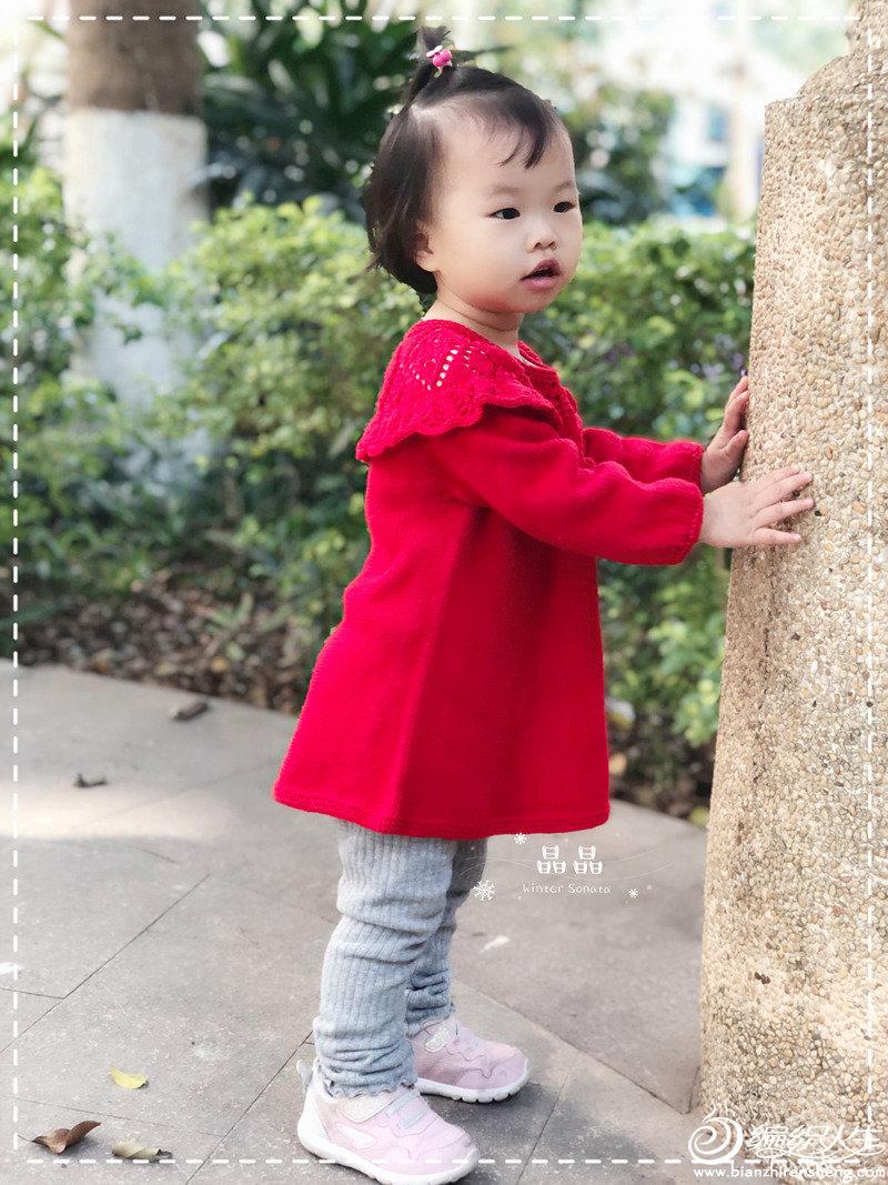 兒童棒針育克圓肩連衣裙