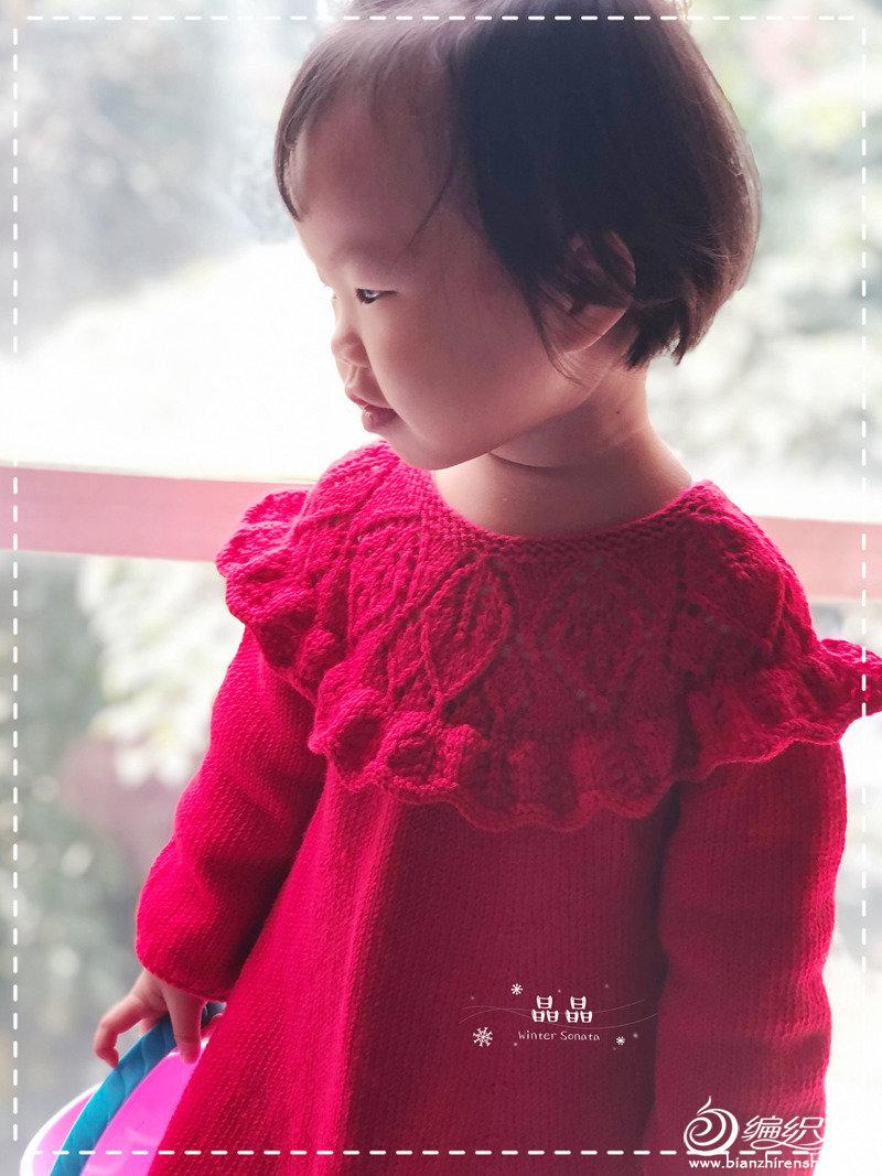 荷叶边女童叶子花毛衣