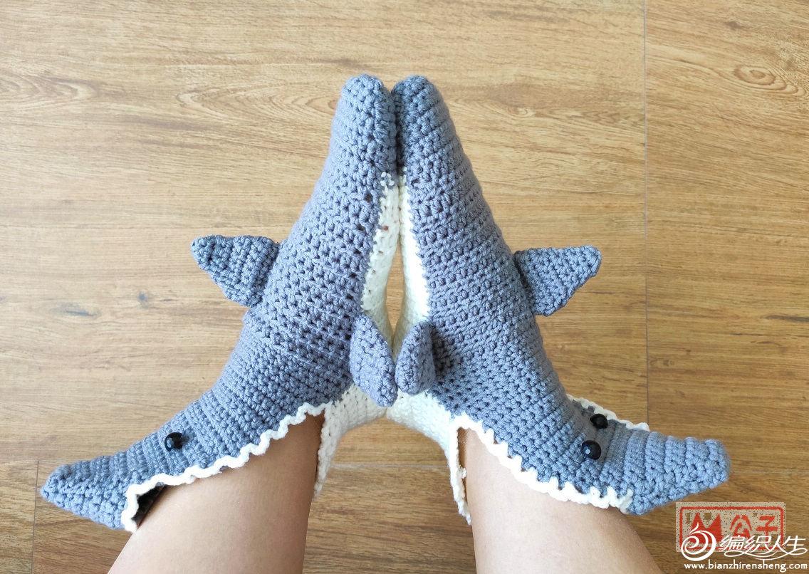 钩针鲨鱼毛线袜