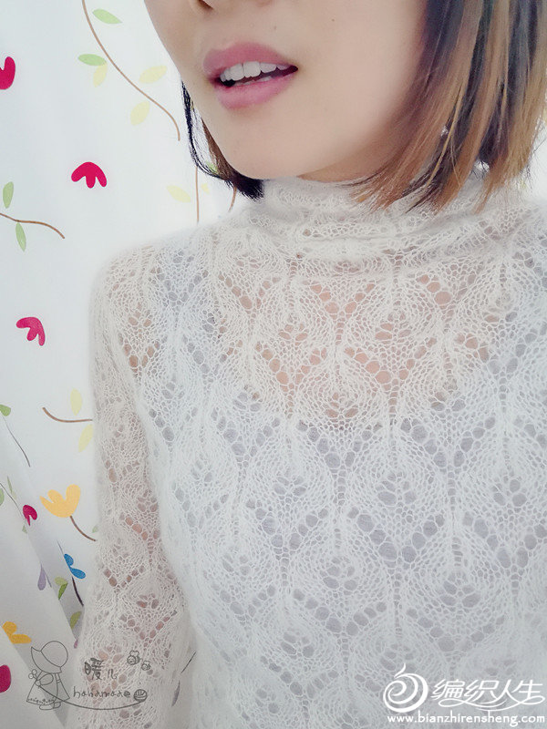 女士棒针镂空马海毛衣