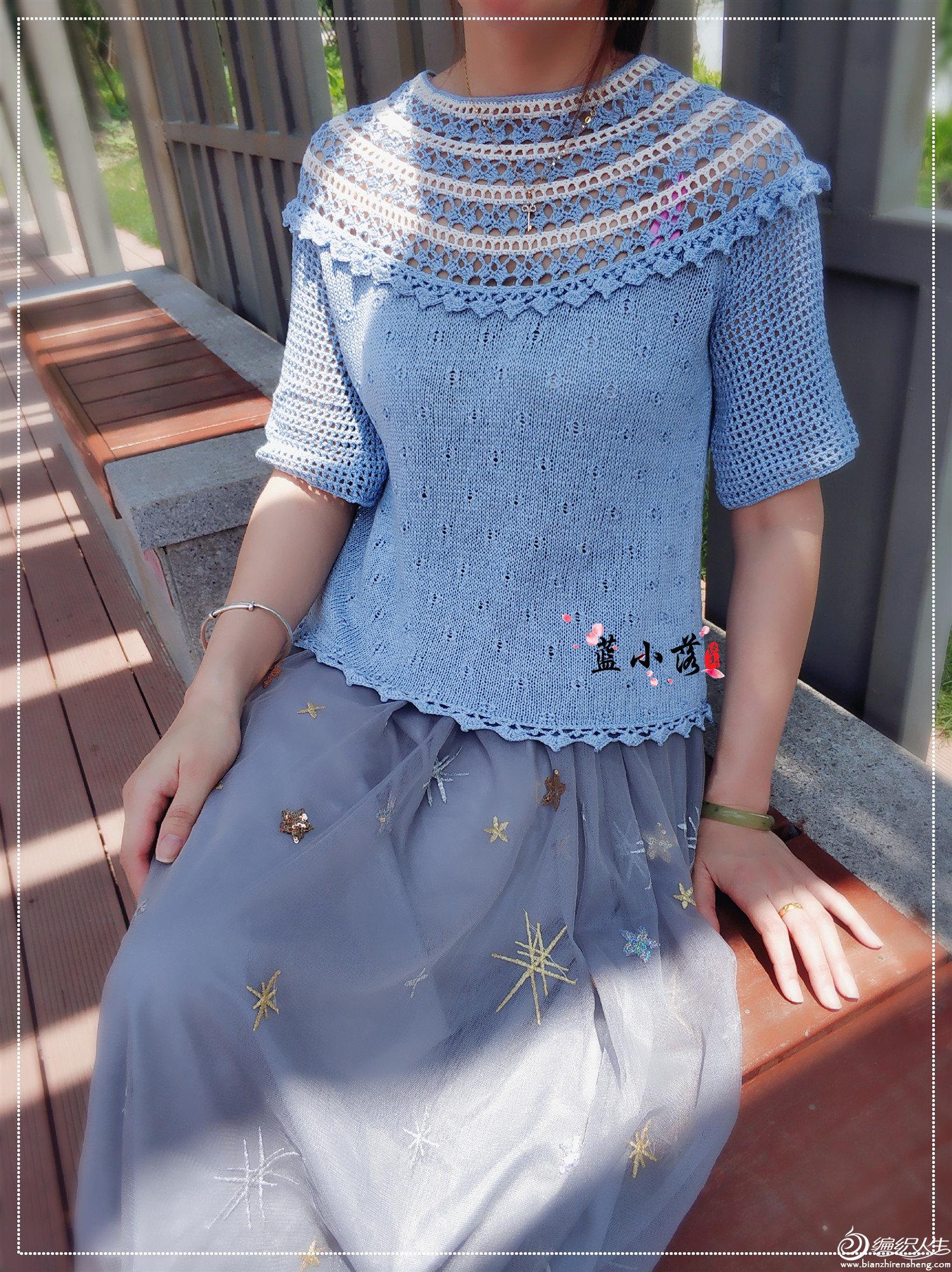 手工编织女士中袖衫