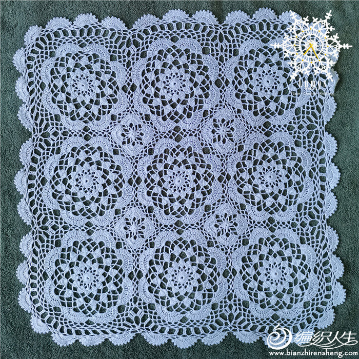 钩针拼花蕾丝桌布