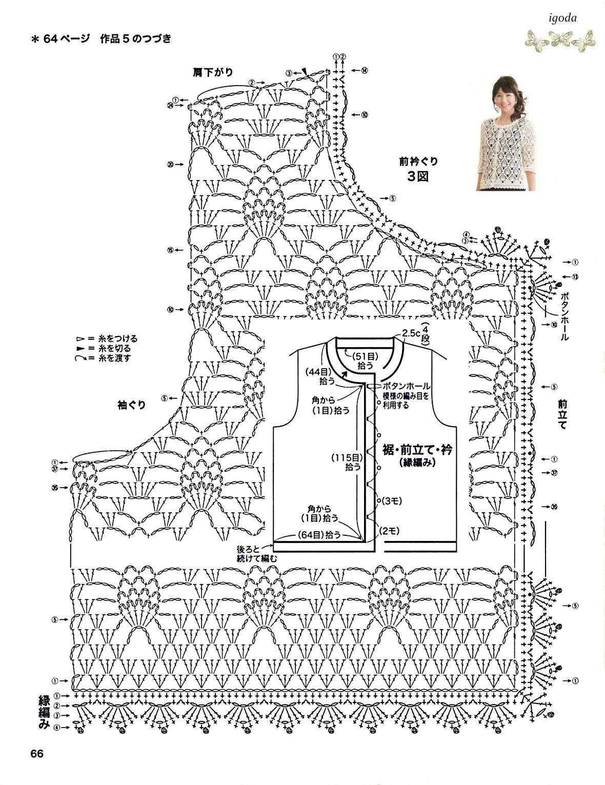 菠萝花样中袖开衫图解.jpg