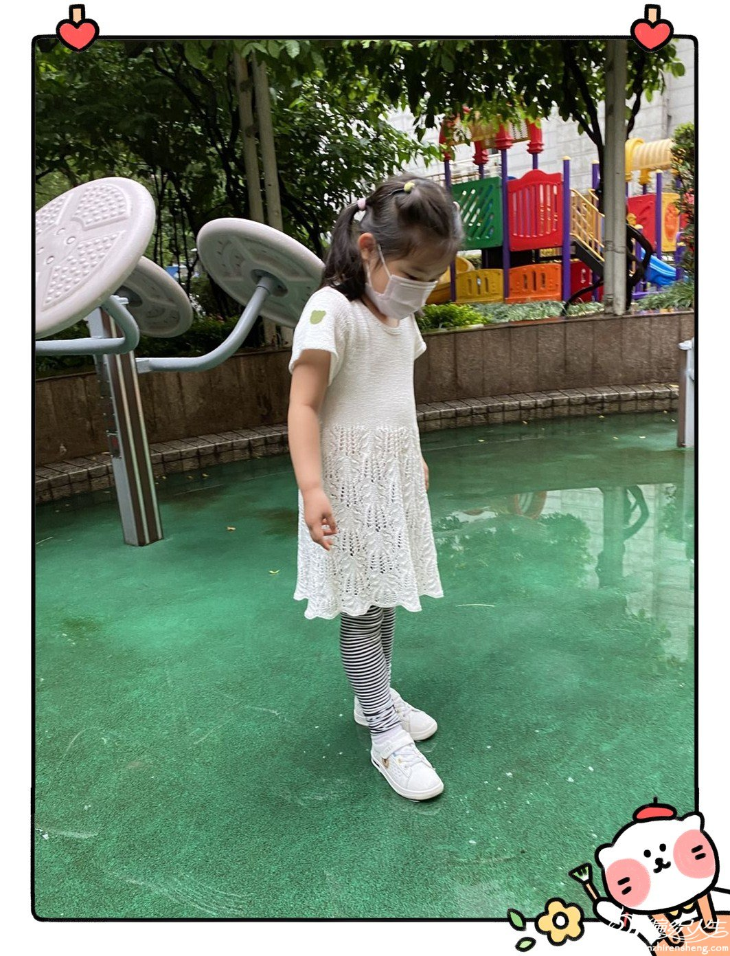 棒针棕榈花短袖连衣裙