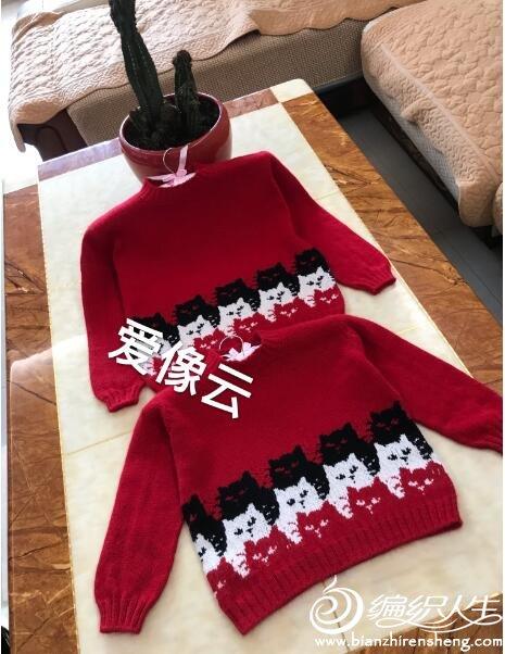儿童棒针猫咪图案毛衣
