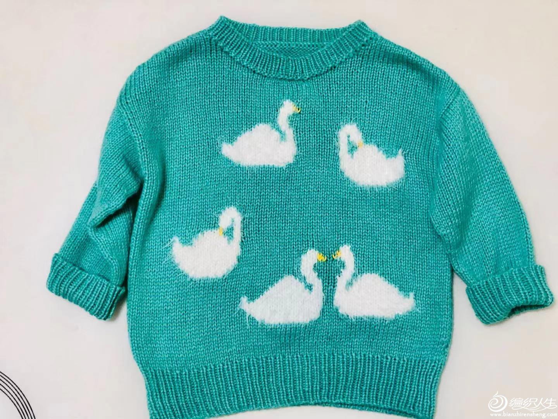儿童天鹅图案套头毛衣
