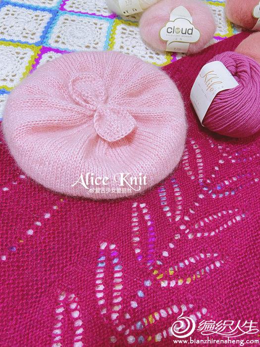 甜美可爱棒针红粉贝雷帽