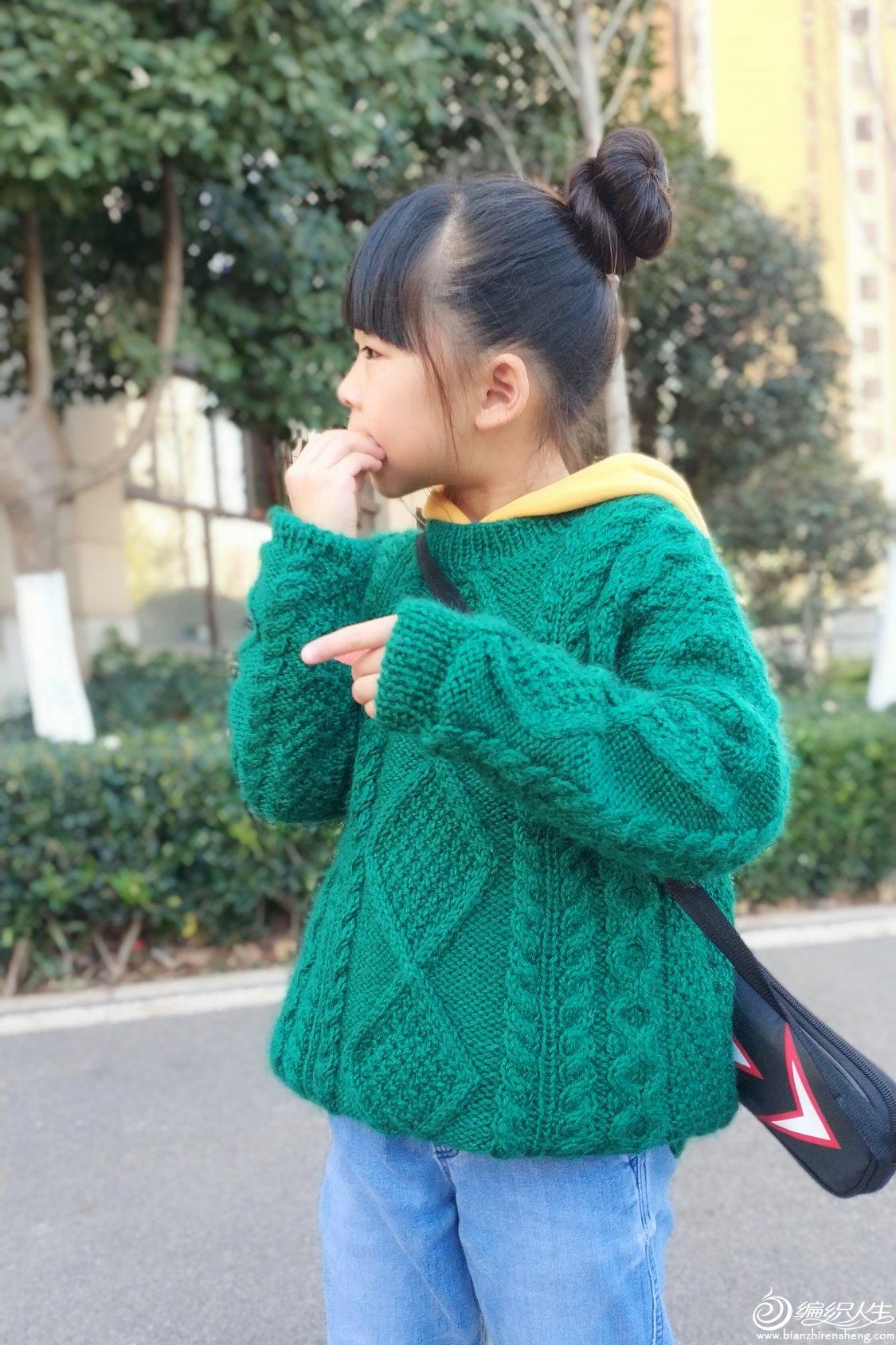 儿童棒针扭花毛衣