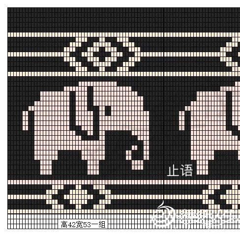 钩针大象图案