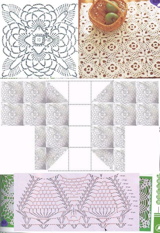 二件套图解,上面是单元花,中间是组合图,下面是边边。因为边边是自己想的,所以找了一个差不多的来用。