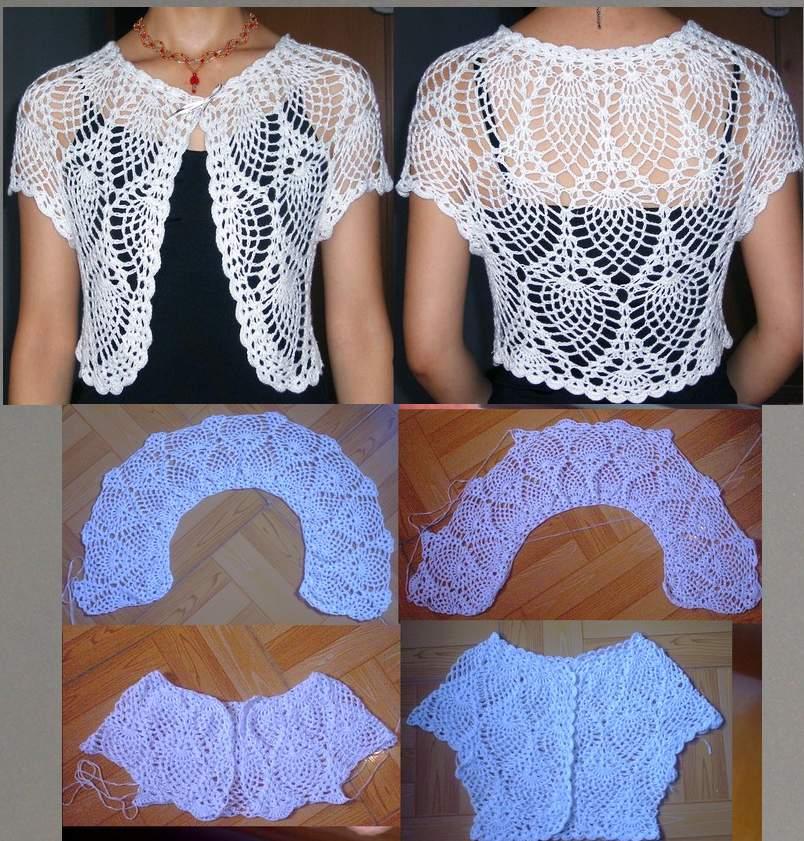 白色丝光棉短袖菠萝花+编织过程