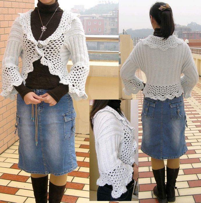 钩织结合  这件是我在逛商店时看到的一件480元的衣服,我就把它仿织了下来,就是这个样子和,迷