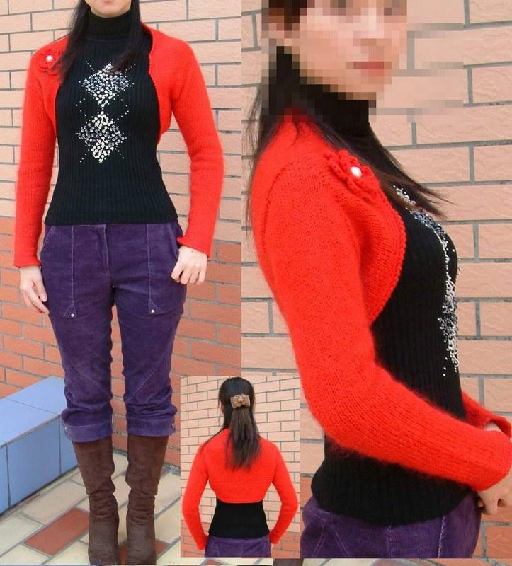 冬天小坎肩的真人秀,本来买一件薄点的无袖黑衣来配这件红色的,看到一件前面秀花的才25元一件就买了。呵呵