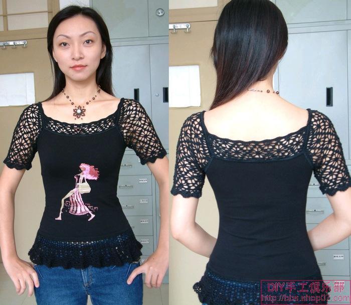 背心改良钩与布的结合  现在加了一个下摆使衣服长点。要不老是要把肚皮露出来。