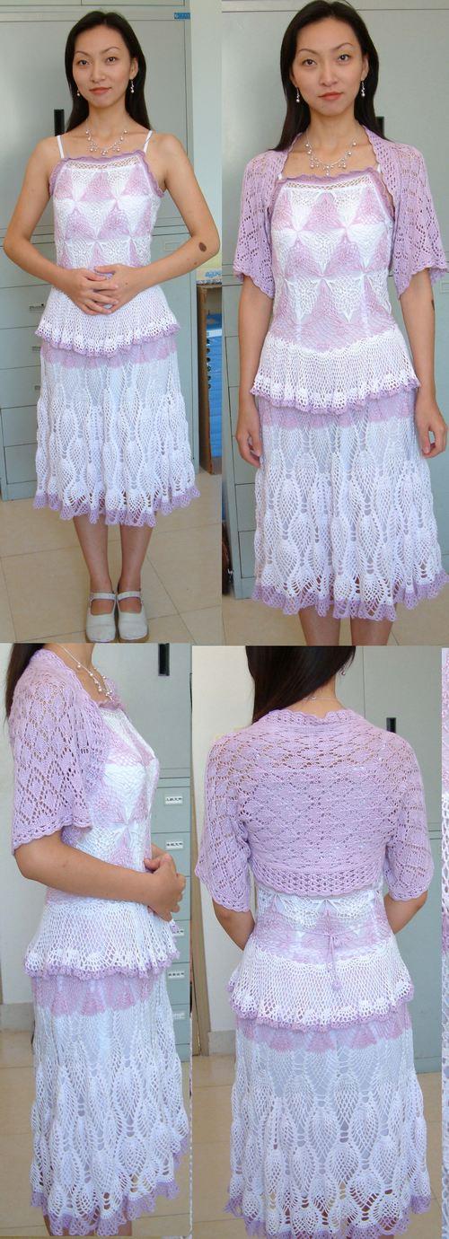 粉紫连衣裙  钩这件真是一波好几折。光线就用了三种,天丝、丝光、棉,不是我故意要用到这么多种线。因为线