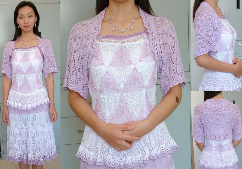 粉紫丝光棉袖子披肩+钩的裙子