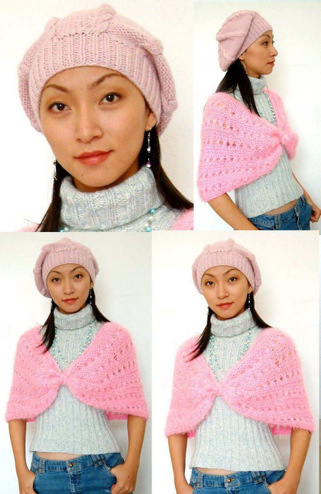 织法简单,可戴上去感觉效果好极了。衣服披肩帽子自己DIY很有成就感。